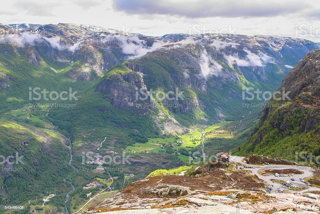 Panorama view of mountains in Norway stock photo