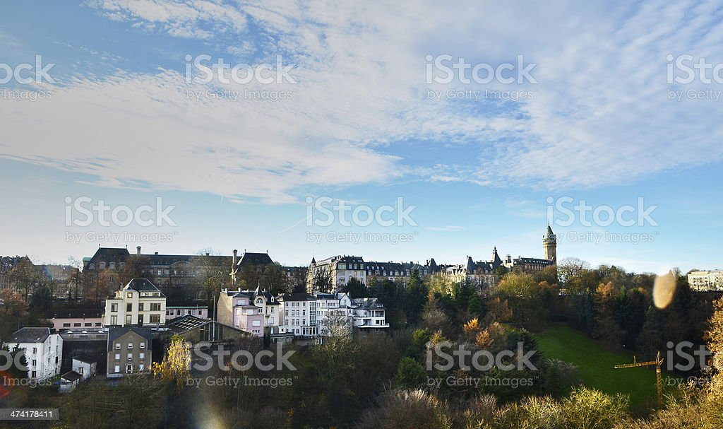 panorama view of Neumünster Abbey in Luxembourg City stock photo