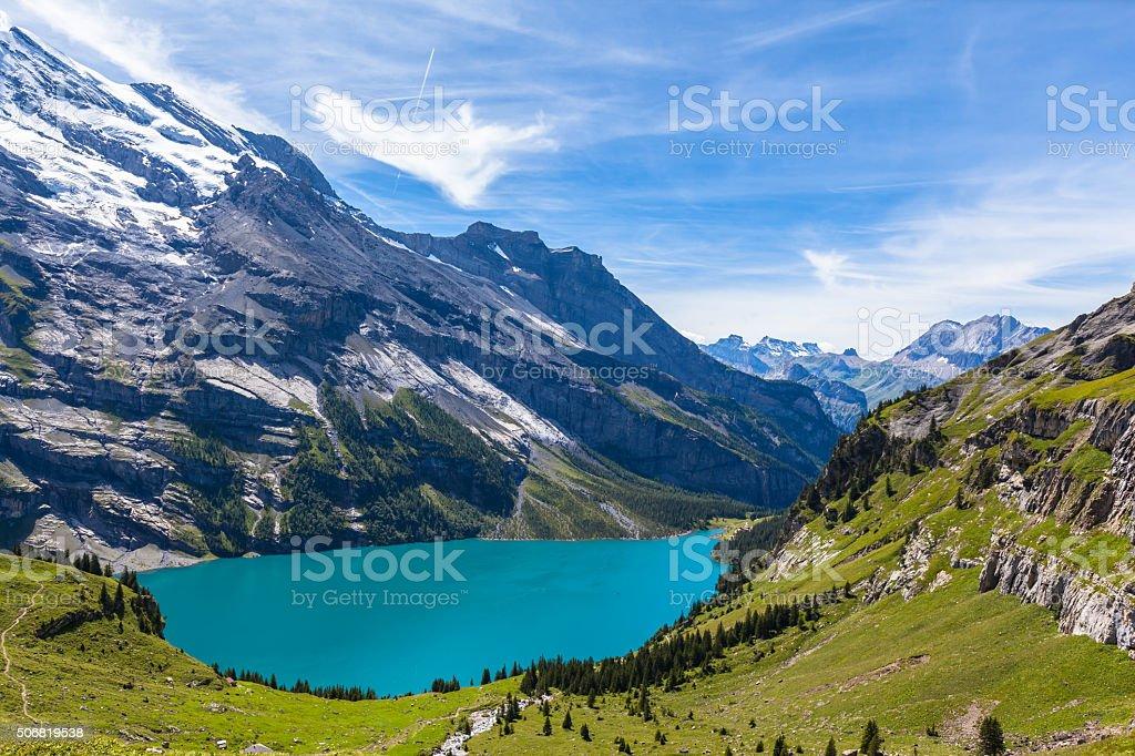 Panorama view of Oeschinensee (Oeschinen lake) on bernese oberla stock photo