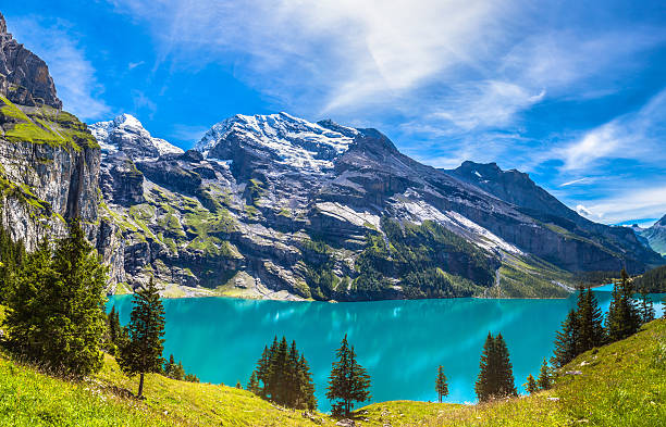 Panorama view of Oeschinensee (Oeschinen lake) on bernese oberla The panorama in summer view over the Oeschinensee (Oeschinen lake) and the alps on the other side near Kandersteg on Bernese Oberland in Switzerland. swiss alps stock pictures, royalty-free photos & images