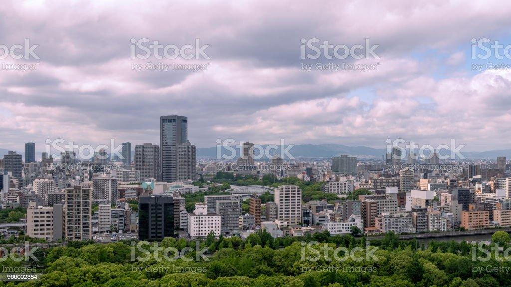 Panoramisch uitzicht op de skyline van Osaka, Japan - Royalty-free Adoreren Stockfoto