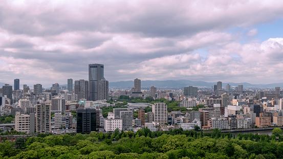 Panoramisch Uitzicht Op De Skyline Van Osaka Japan Stockfoto en meer beelden van Adoreren