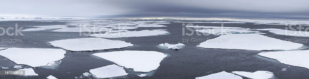 panorama view of pack ice on the Arctic Ocean Svalbard stock photo