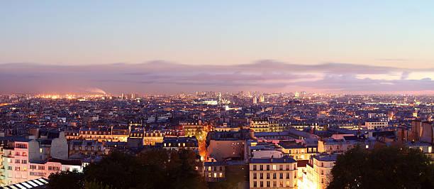 panorama view of paris by night - montmatre utsikt bildbanksfoton och bilder