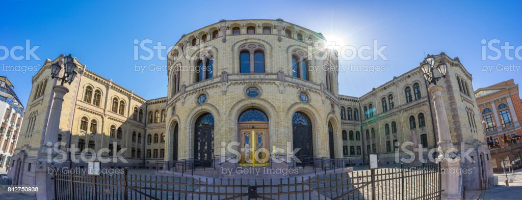 Panorama view of Parliament of Norway Stortinget in Oslo, Norway stock photo