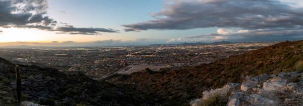 Panorama view of Phoenix, Arizona at dusk stock photo