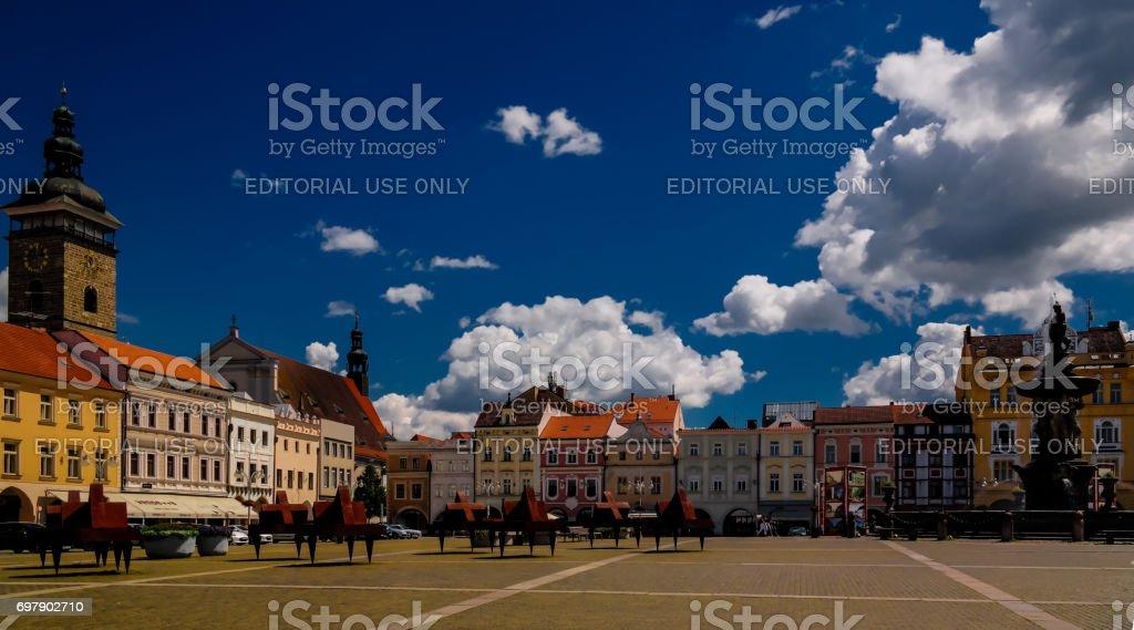 Panorama view of Premysla Otokar square Ceske Budejovice, Chech Republic stock photo
