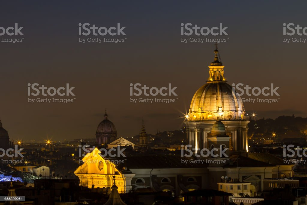 Panorama view of Rome at sunset 免版稅 stock photo