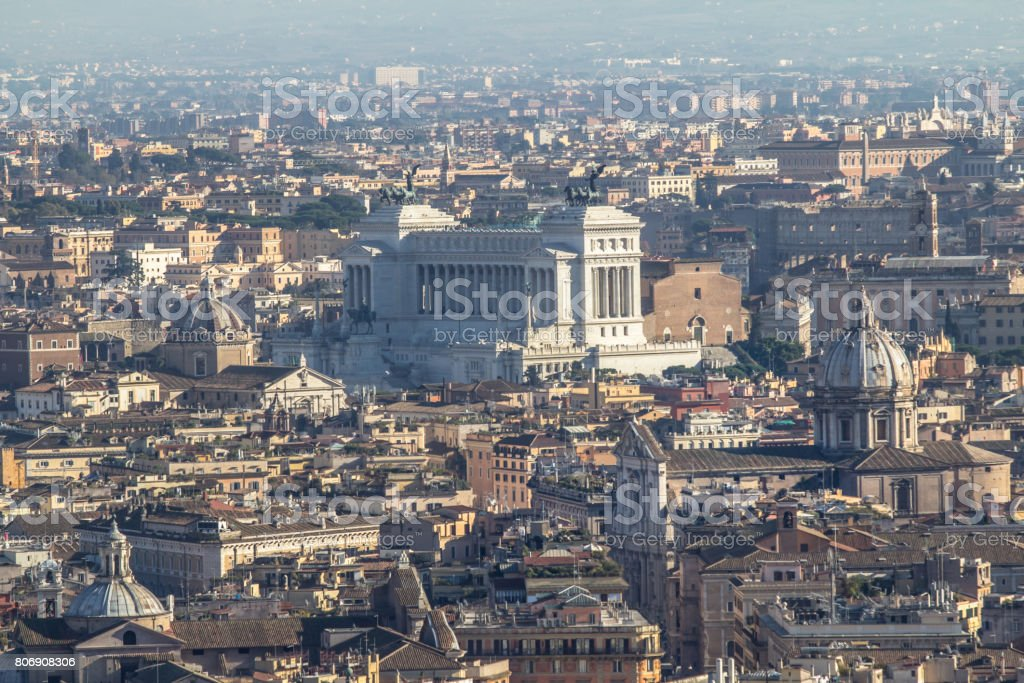 Panorama view of Rome from Saint Peter Cathedrale stock photo