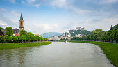 Panorama view of Salzburg city skyline in Salzburg, Austria.