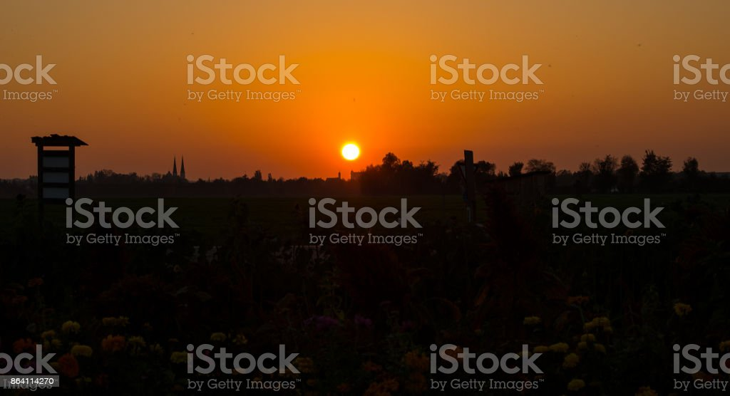 Panorama view of sunset royalty-free stock photo
