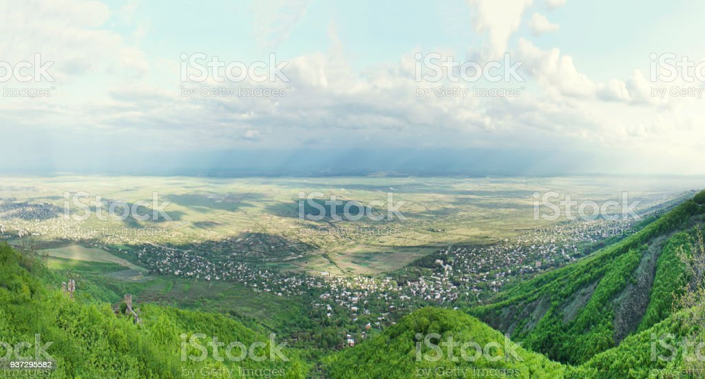 Panorama view of the Alazani valley from the height of the hill stock photo
