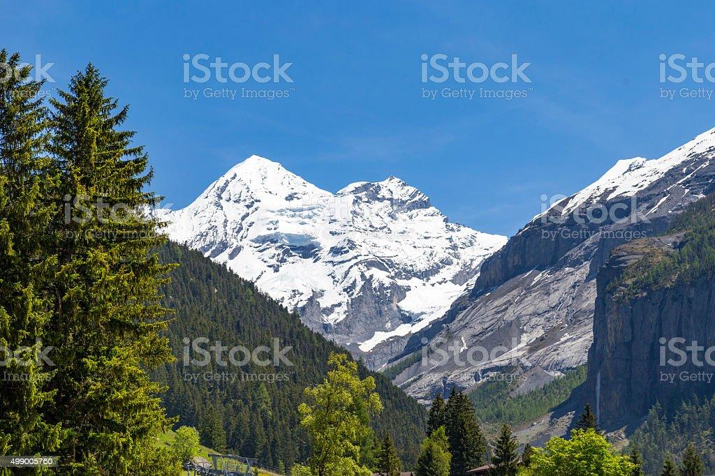 Panorama view of the Alps and Bluemlisalp near Kandersteg, Switzerland stock photo