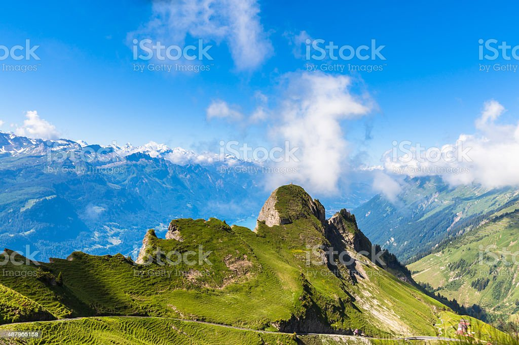 Panorama view of the alps near Rothorn stock photo
