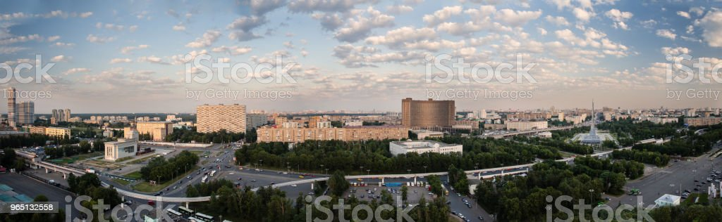 Panorama view of the city from the Ferris wheel (big wheel). The Exhibition of Achievements of National Economy - VDNH. Cosmos Hotel, monorail and Monument to the Conquerors of Space zbiór zdjęć royalty-free