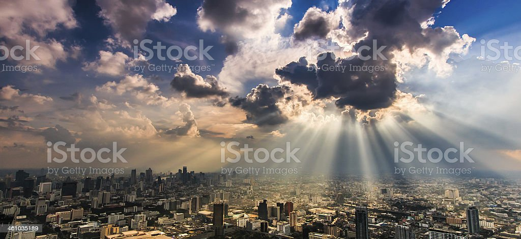 Panorama view of the city of Bangkok after a storm stock photo
