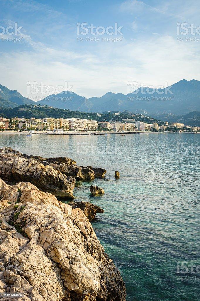 Panorama view of the coast of the Ligurian Sea. Menton stock photo
