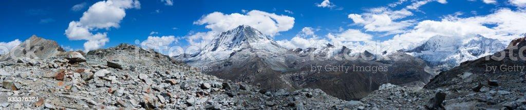 Panorama view of the Cordillera Blanca in Peru stock photo