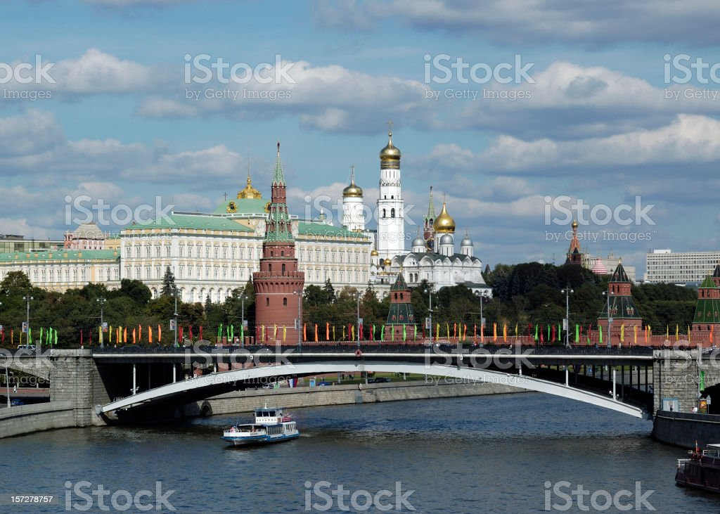 Panorama view of the Kremlin with a bridge in front of it royalty-free stock photo
