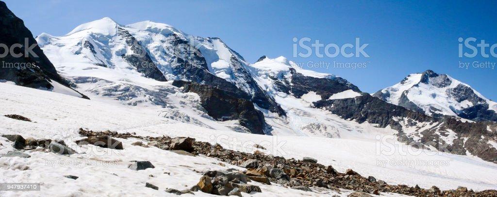 panorama view of the majestic Piz Palu near St. Moritz stock photo
