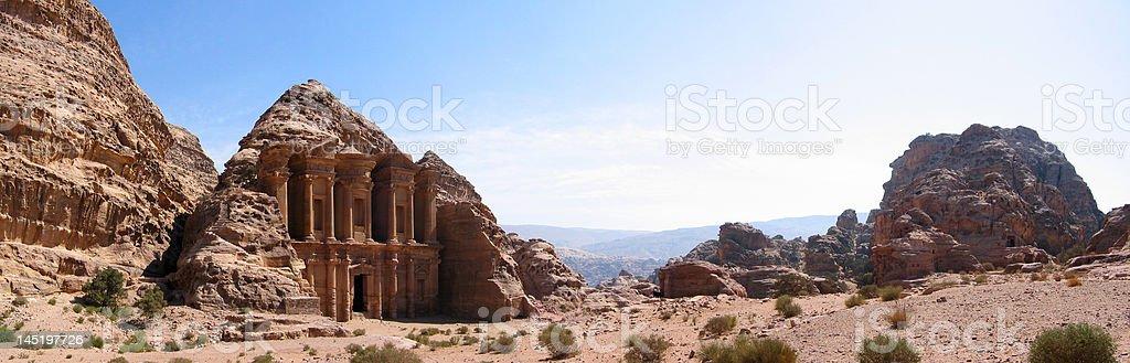 Panorama View of the Monastery (Deir) at Petra stock photo