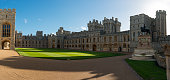 Windsor, England - Nov 11, 2018:  The Quadrangle of Royal Windsor Castle on a sunny day.