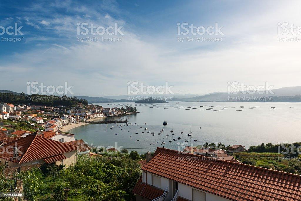 Panorama view of the Ria de Pontevedra in Spain stock photo