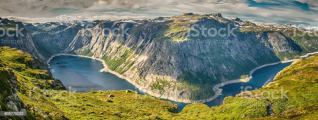 Panorama view of the Ringedalsvatnet lake and mountains stock photo