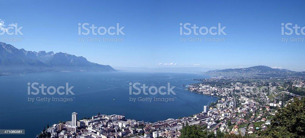 Panorama view of the Riviera Vaudoise and Lake Leman stock photo