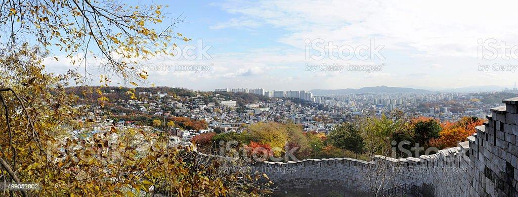 Panorama view of the Seonggwak fortress wall stock photo
