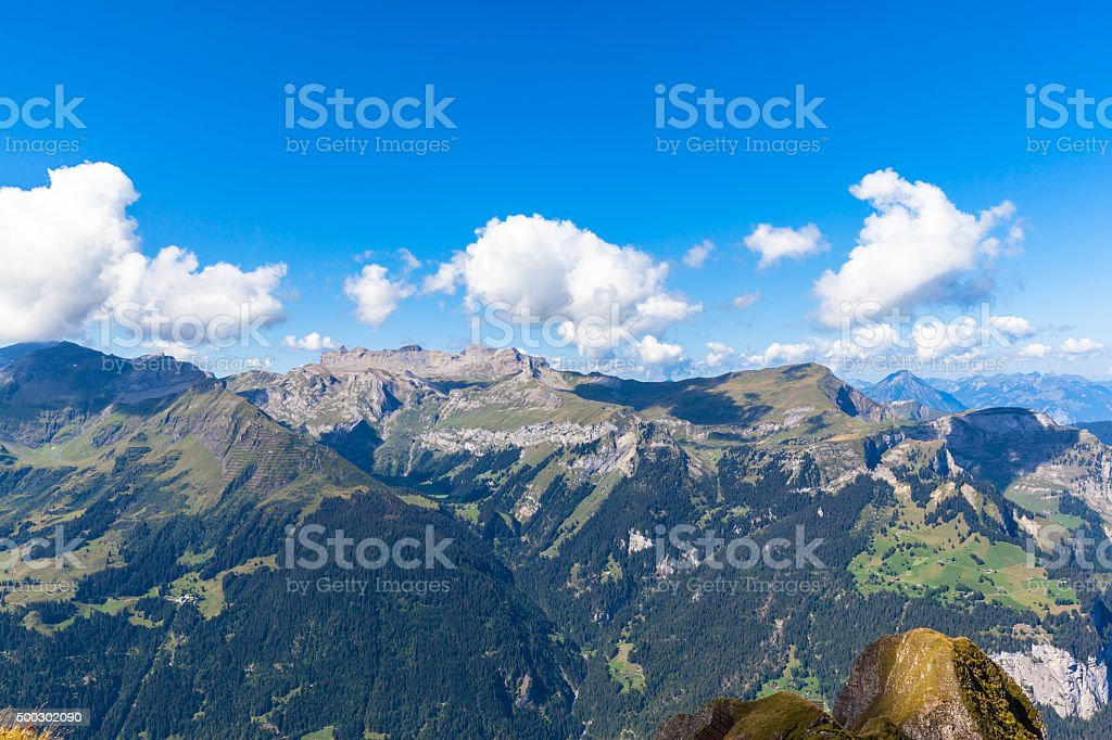 Panorama view of the swiss alps from Mannlichen stock photo