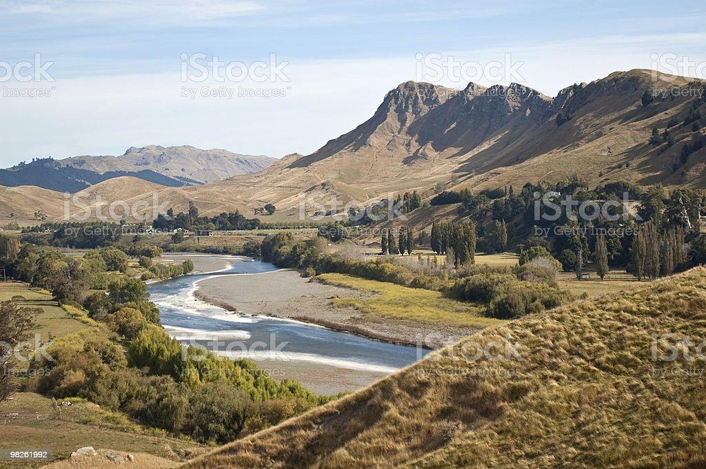Panorama view of the Te Mata Peak in the Tukituki Valley stock photo