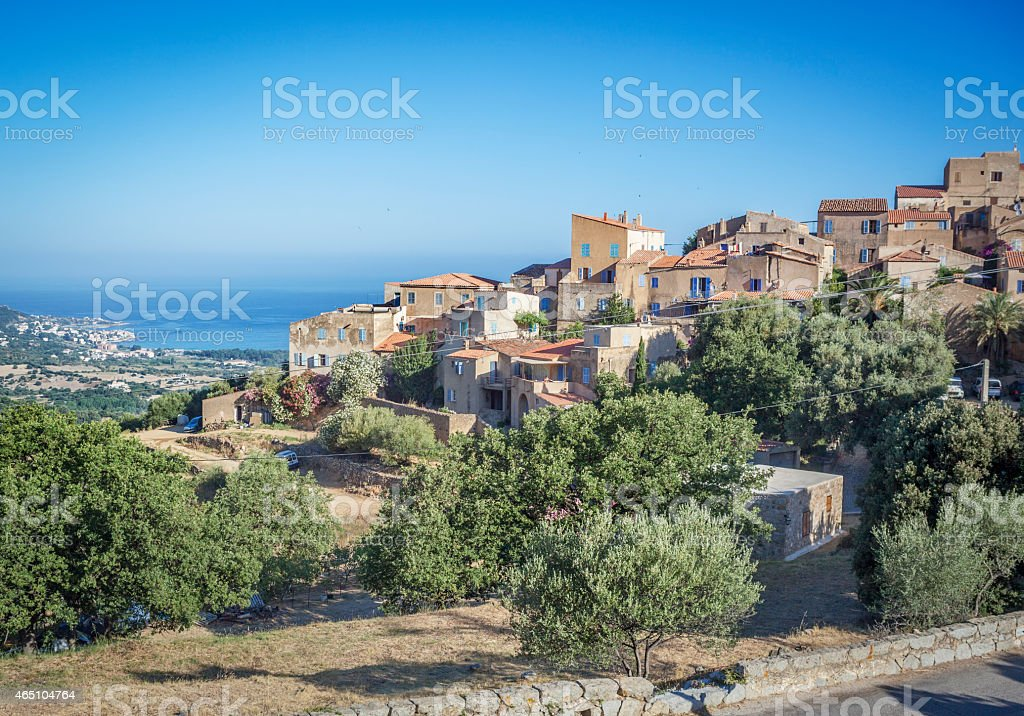 Panorama view of the village of Pigna, Corsica, France stock photo