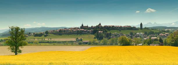 Panoramablick auf das Dorf Romont in der Schweiz mit den Alpen im Hintergrund – Foto