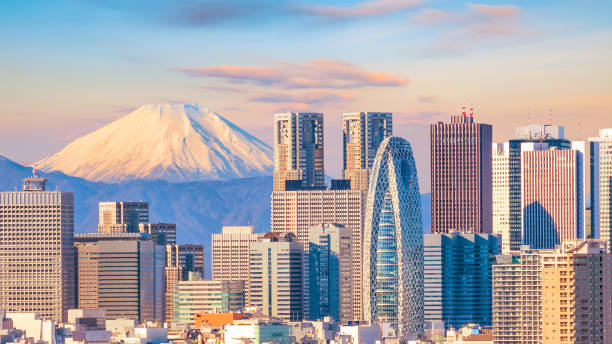 Panorama view of Tokyo skyline and Mountain fuji stock photo