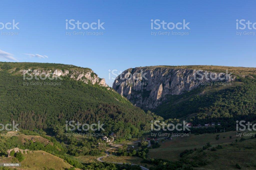 Panorama view of Turda Gorge stock photo