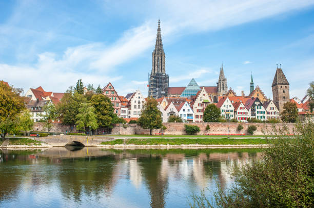 Panorama view of Ulm city center, Germany Ulm is a small town in Baden- Württemberg ulm stock pictures, royalty-free photos & images