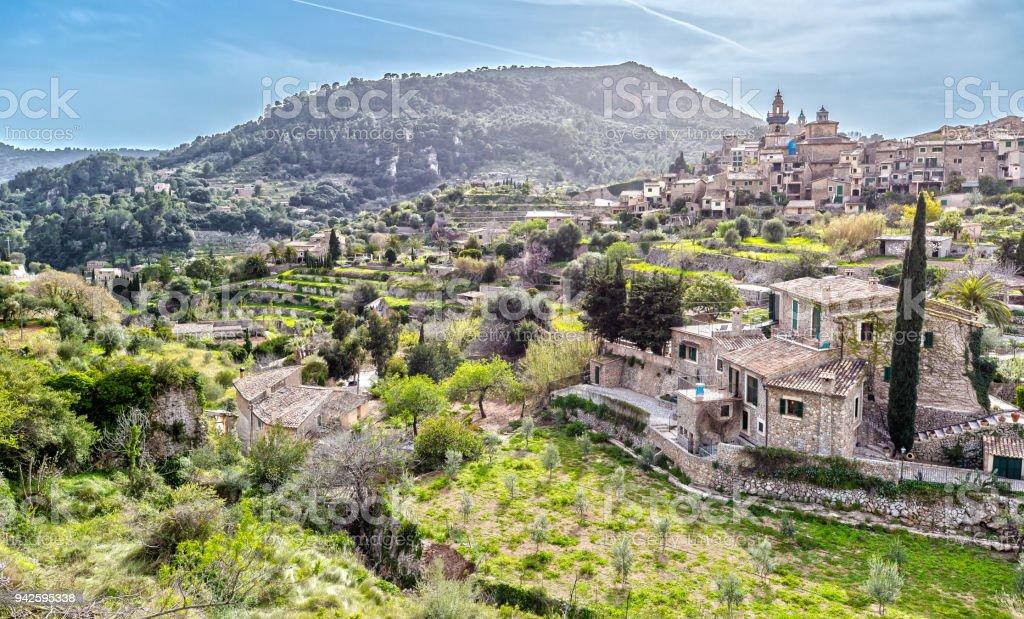 Panorama View of Valdemossa in Mallorca, Spain stock photo