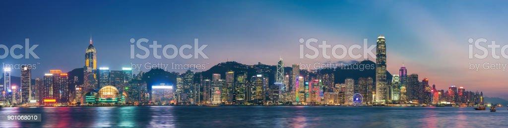 Panoramablick auf Victoria Harbor of Hong Kong Stadt – Foto