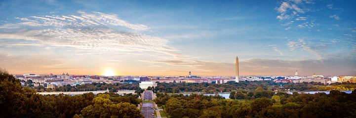 Panorama view of Washington DC skyline when sunset seen from Arlington cemetery, Washington DC, USA.