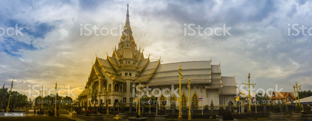 Panorama view of Wat Sothonwararam, a famous public temple in Chachoengsao Province, Thailand. Located in the Municipality of Mueang Chachoengsao alongside the Bang Pakong River. stock photo