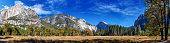 Panorama view of Yosemite nation park  in a sunny day, California, USA.