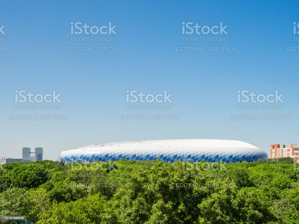 Panorama view on Aeroport district of Moscow and Central Dynamo Stadium. stock photo