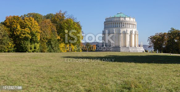 Kelheim, Bavaria / Germany - Oct 14, 2019: Panorama view on Befreiungshalle Kelheim (liberation hall). Built in memory of the victorious battles against Napoleon. Architecture by Leo von Klenze. Construction was started in 1842. The monument was inaugrated in 1842. Architecture by Friedrich von Gärtner (until his death in 1847) and Leo von Klenze (from 1847 until completion).