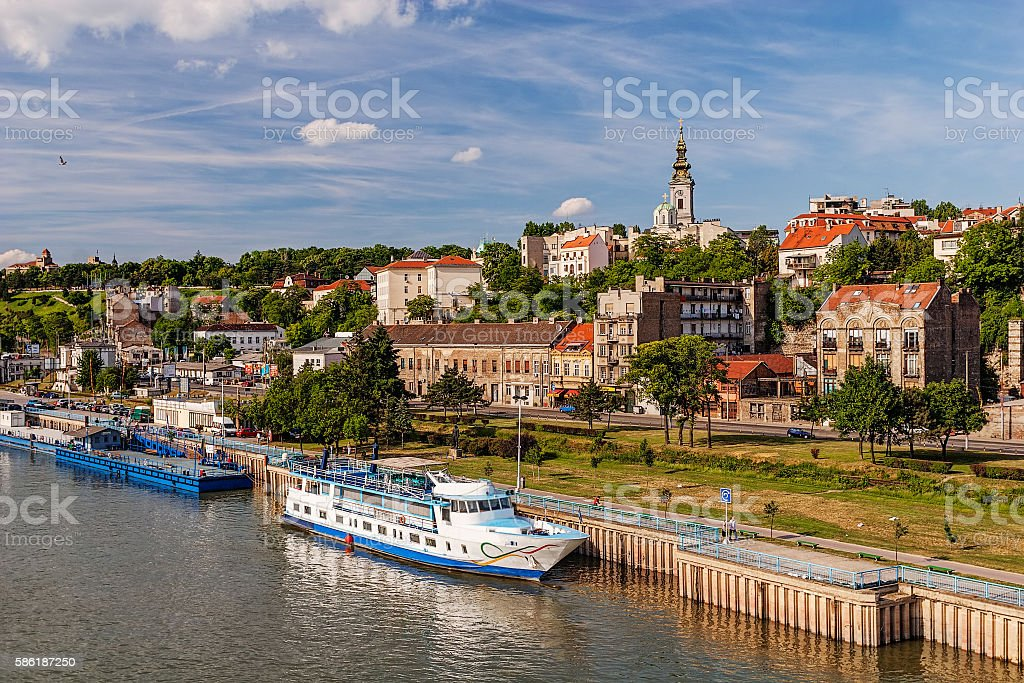 Panorama view on Belgrade old part of town stock photo