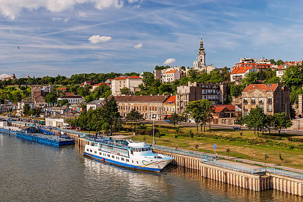 panorama view on belgrade old part of town - serbia stock photos and pictures