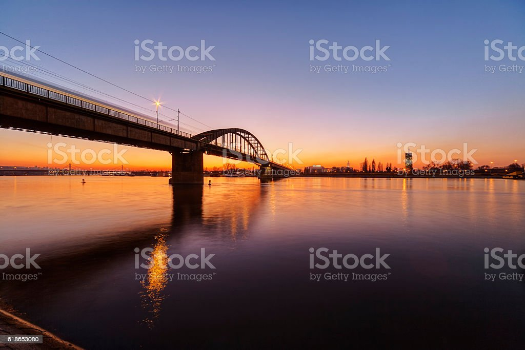 Panorama view on bridge over the river stock photo