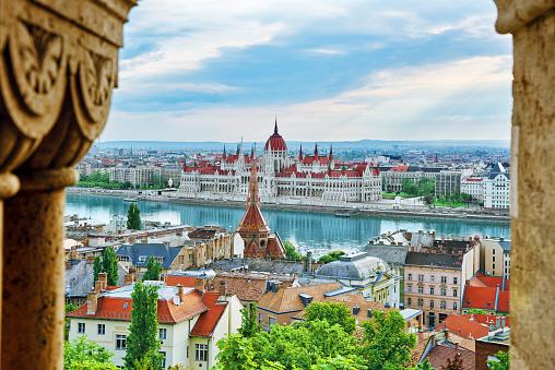 Panorama View on Budapest city from Fisherman Bastion. Hangary.