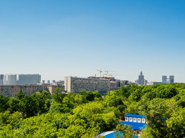 Panorama view on buildings and parks in Aeroport district of Moscow. Russia. stock photo