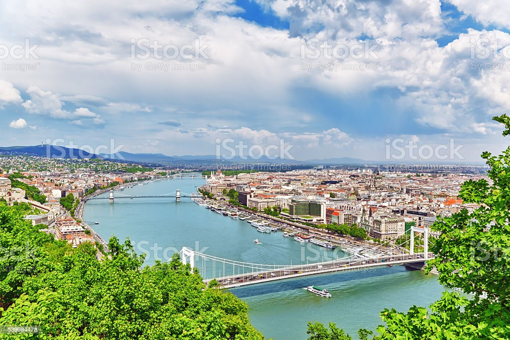 Panorama View on Elisabeth Bridge and Budapest. stock photo